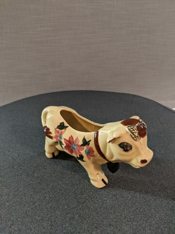 Vintage Ceramic Cow with Flowers Creamer