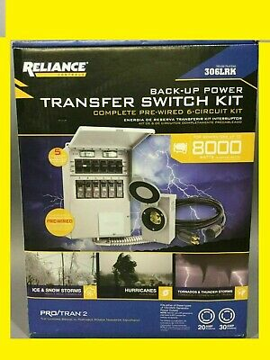 Reliance Back-up Power Transfer Switch Kit Up To 8000 W Model 306lrk - New