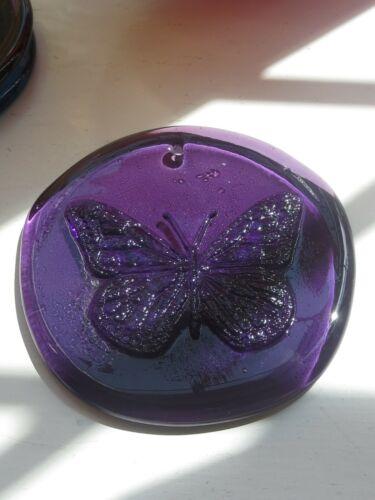 Blenko Suncatcher-  Elderberry purple with butterfly design
