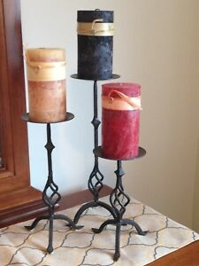 Wrought Iron Candle Holders w Candles