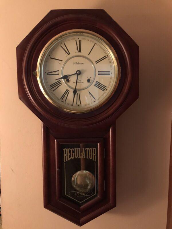 Vintage Waltham Regulator 31 Day Mechanical Chime Wall Clock w/ Wood Case & Key
