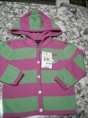 Nautica Kids Infant Girls Jacket Sweater Hooded Size 12-18 months NWT