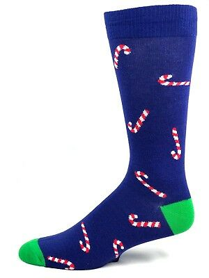 Navy and Green Candy Cane Pattern Holiday Crew Dress Socks