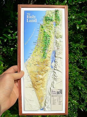 """Holy Land 3-D Topographic Wall MAP Jesus Christ 15"""" Israel Christian Bible Sites"""