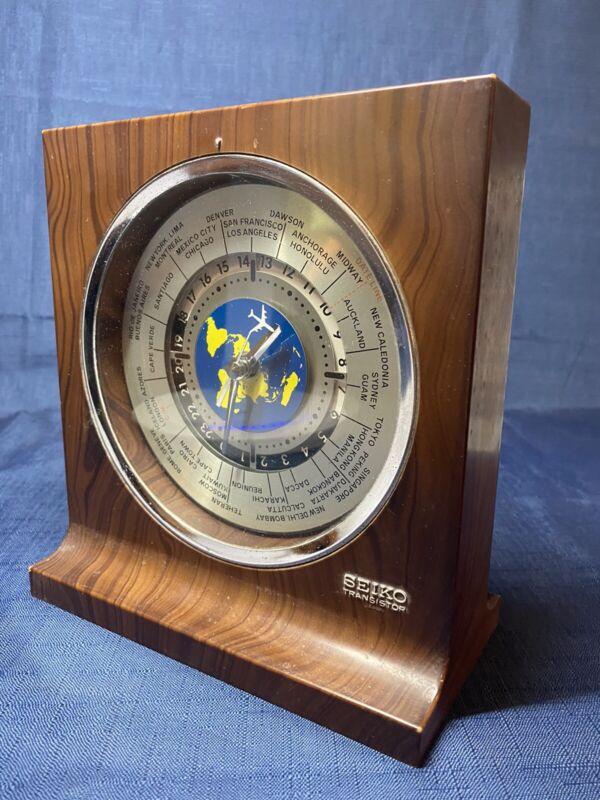 Vintage Seiko Transistor Mantel Clock World Time International Date Line Japan
