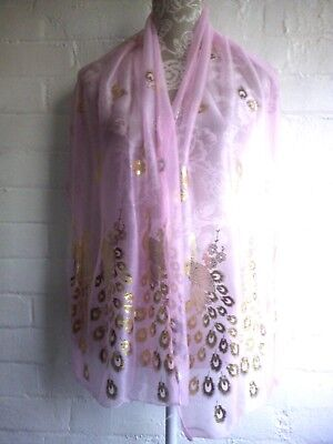 Lovely light pink color gold print peacock  pattern, soft delicate scarf./1.4