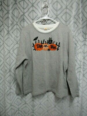 Halloween Top Size XXL 20 Pull Over TRICK OR TREAT Pumpkins Long Sleeve Casual ()