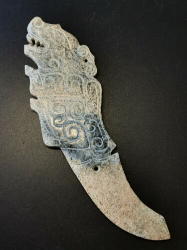 Chinese Jade blade Tiger handle Jade Ge Amulet