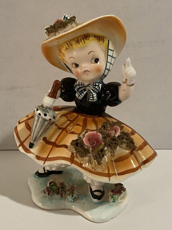 """Vintage~Sassy Girl~Figurine~Pointing Finger~Umbrella~Gold Dress & Hat~5"""""""