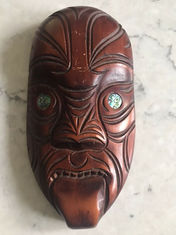 Vintage Large Tribal Ethic Maori Art Wood Carving KORURU Primitive Face Mask