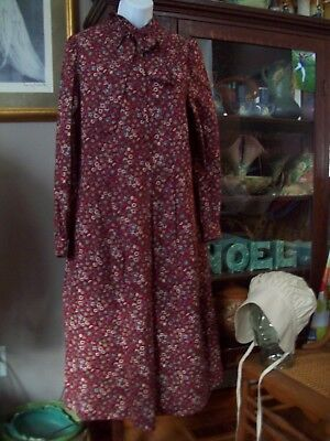 Pioneer Music Man Costume Modest size Adult L school Marm dress Bonnet