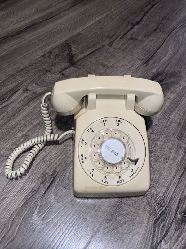 Vintage Design Beige Tan Rotary Desk Phone Western Electric 1970s 1980s No test