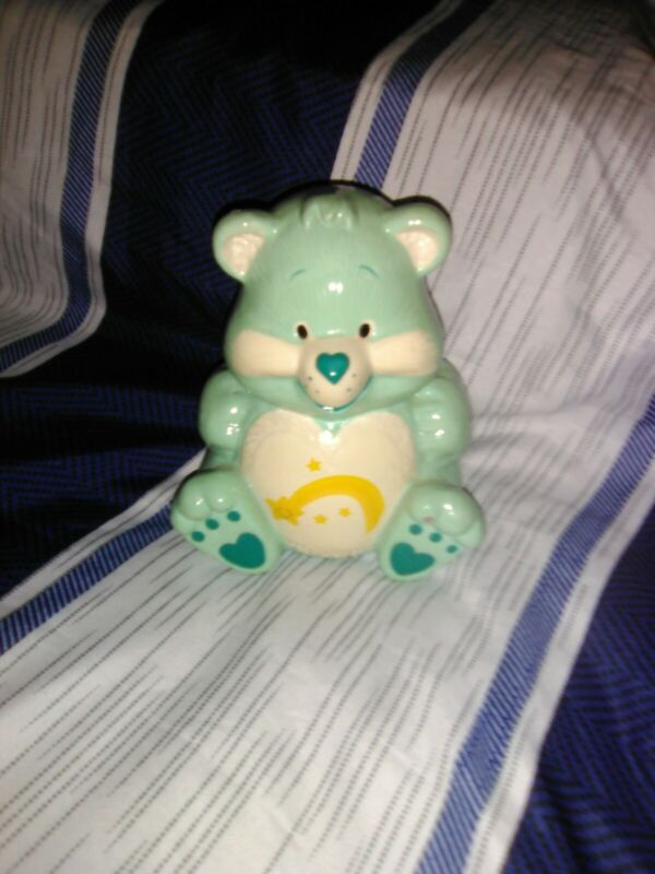 VINTAGE CARE BEAR WISH BEAR CERAMIC PIGGY BANK FIGURINE W/ HEART ON NOSE