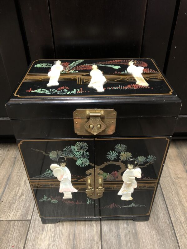 Asian Japan Large Jewelry Box Geisha Mother of Pearl/Abalone Red Lining