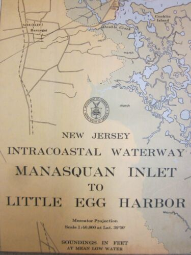 US Coast & Geodetic Survey Chart Intracoastal Waterway New Jersey 1957 Little Eg