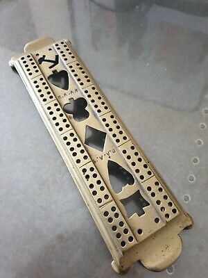 Vintage Brass Cribbage Board S.A.A.1 Cut out Navy - Solid Brass with Brass Feet