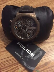 Men's Police Watch with Leather Strap