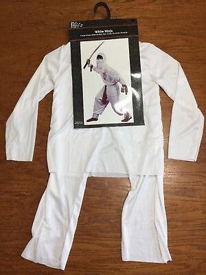 NWT-Boys Child 8 Pc White Red Ninja Halloween Costume Size Medium 8-10 NO - White Ninja Halloween Costume