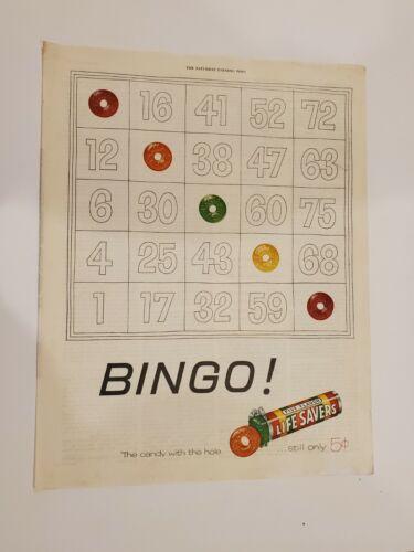 Original Vintage 1955 Lifesavers Five Flavors Bingo ad
