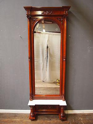 Konsolenspiegel  MAHAGONIE Säulen-Spiegel Gründerzeit um 1870 TOP -restauriert-
