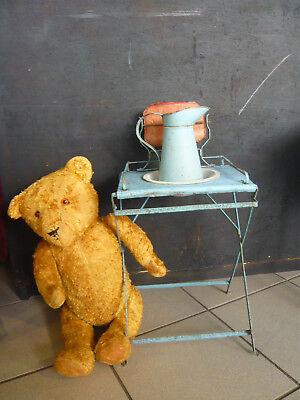 Antik Kinder Waschset Waschgarnitur Ständer Waschtisch Krug Waschschüssel selten