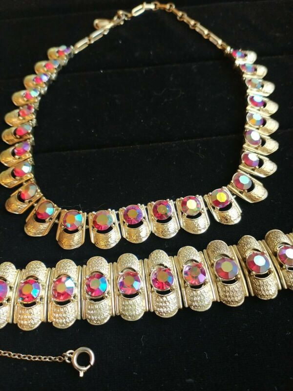 Vintage Coro RED Aurora Borealis Rhinestone Gold Tone Necklace and Bracelet Set