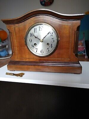 Antique 1900s wooden Edwardian Mantle Clock 8 Day English Clock