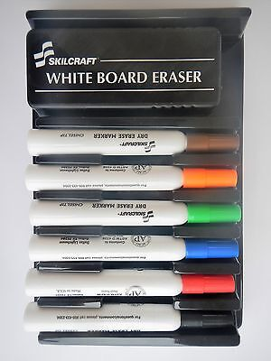 Skilcraft Dry Erase 6 Chisel Tip Marker Set For White Board Glass Nonporous