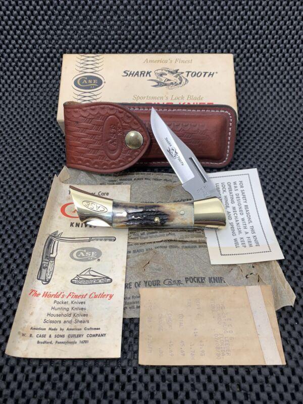 CASE XX 5197 LSSP STAG HANDLED SHARKTOOTH KNIFE W/ SHEATH+LITERATURE+BOX NOS
