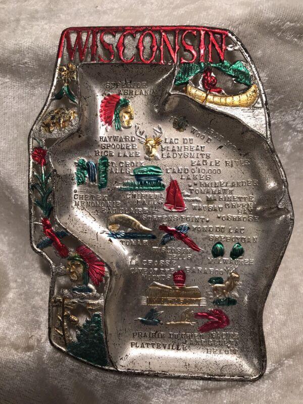 Vintage Wisconsin Souvenir Metal Ashtray / Japan