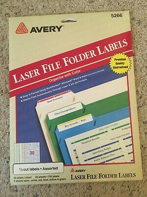 Avery 5266 File Folder Labels-assorted Colors 450 Total Laser Partial Pack