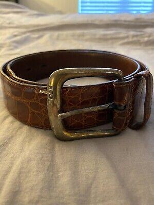 Ralph Lauren Alligator Belt 30 Made In Italy Sterling Silver Buckle