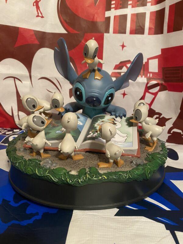 RARE Walt Disney Lilo & Stitch Reading with Ducks Figurine Statue IN HAND NOW