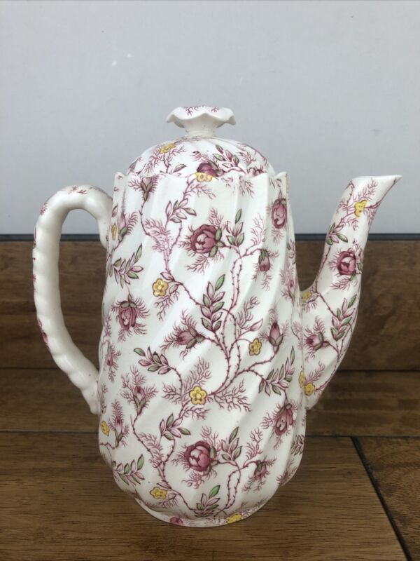 Vintage Spode 8 inch Tall Rosebud Chintz Coffee Pot with Lid