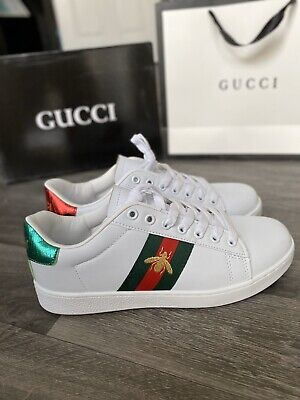 New Gucci Look Ace Embroidery Women's Sneakers Trainers White Uk4, Eur 37 Box