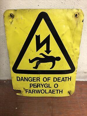 Vintage Small Welsh Danger Of Death Electric Sign, Mancave, Retro Decorative