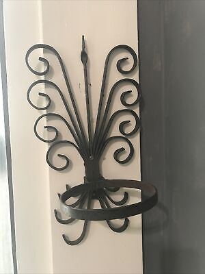 Wrought Iron Wall Mounted Plant Holder Vintage Architectural Home Garden Deco