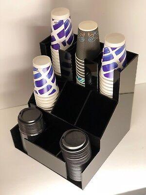 Office Cup Lid Station Condiment Fancy Acrylic Holder Coffee Sugar Organizer