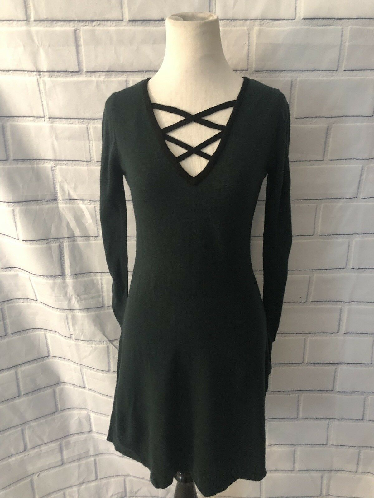 9d571c8d2ae BCX NWT BCX Lace Up Sweater Dress Forest Green Teal Sz S Long Sleeve Flare  New