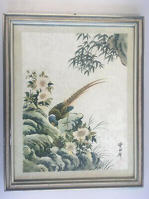 Altes japanisches Bild Vogel Zeichnung Shikishi Ideogramm Stempel signiert Rahme