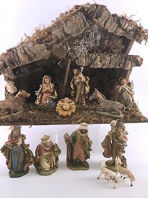 """Fontanini? Italy 12 Figures Creche Stable 5"""" Nativity Set Signed"""