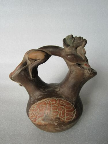 RARE Beautiful Original Pre-Columbian Era Effigy Wine Vessel / Jar