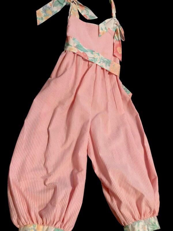 Vintage Girls Bubble Romper 5T Pink Stripe Floral Seersucker  I Am  USA Made EUC