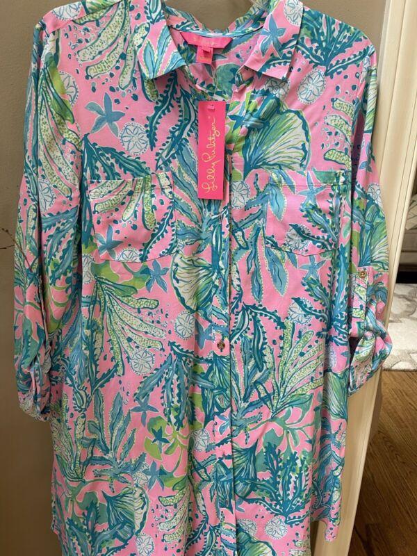 Lilly Pulitzer Mandevilla HIP NAUTIC NATALIE COVERUP Swim Shirt NWT Medium M