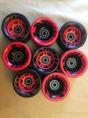 used Dart Wheels for Quad skates or skateboard set of 8 see picks Red Black