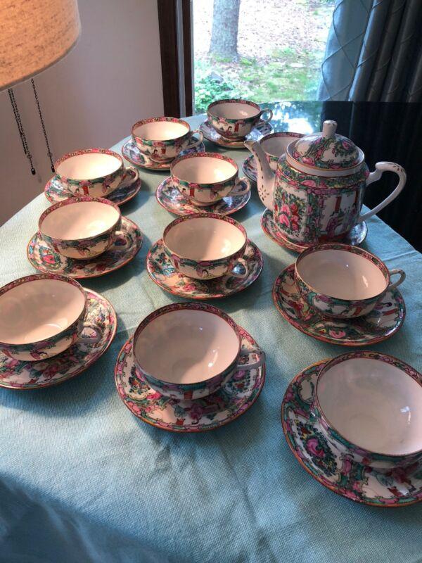 Vintage Handpainted Rose medallion Fine China Tea Set For eleven with teapot