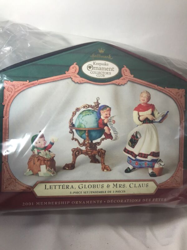 Hallmark Lettera, Globus, Mrs Claus 2001 Collectors Club Christmas Ornament