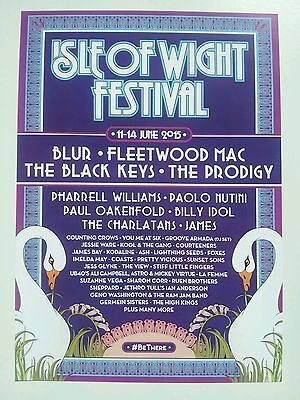 ISLE OF WIGHT FESTIVAL 2015 A3 POSTER IOW FLEETWOOD MAC BLUR PRODIGY CHARLATANS