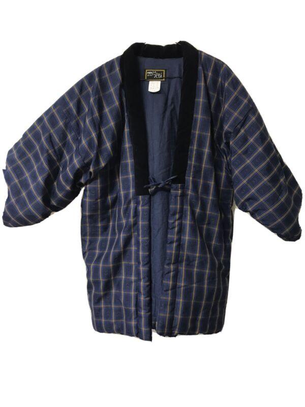 Vintage Japanese Traditional Kurume Hanten Haori Blue Padded Kimono Coat Jacket
