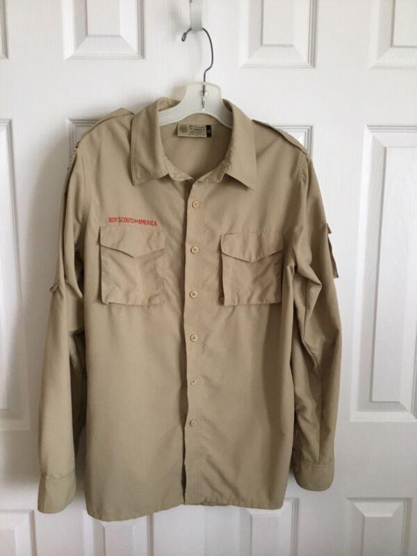 BSA Tan Long Sleeve Supplex Nylon Adult Uniform Shirt Size Adult Small